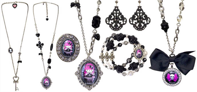 Gothic Lolita Tarina Tarantino jewelry collection: necklaces, rings, bracelets, chokers and accessories, featuring Hello Kitty Pink Head.