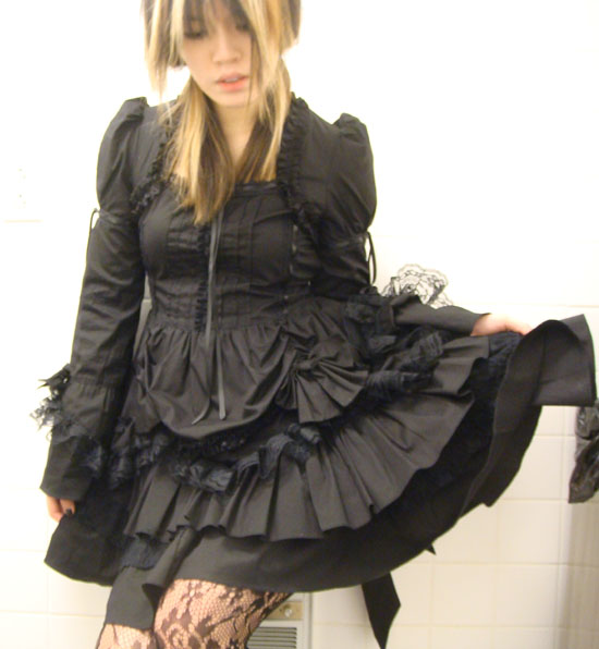 Victorian Goth black dress by Hong Kong's Lolita brand Spider.