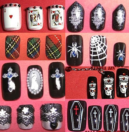 Goth nail designs by Japanese Lolita brand Vampire of Rose.