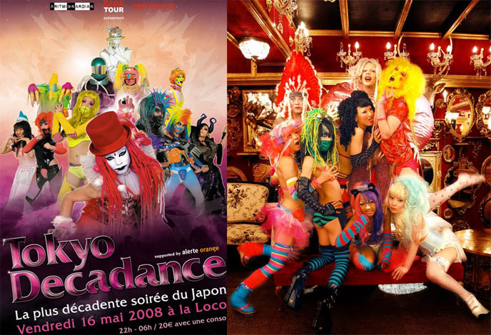 Tokyo Decadance Paris poster and cyberpunk goth club night in Japan.