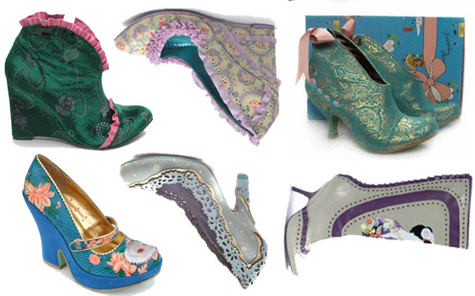 Irregular Choice designer shoes and boots. Sweet Lolita and Marie Antoinette Rococo style.