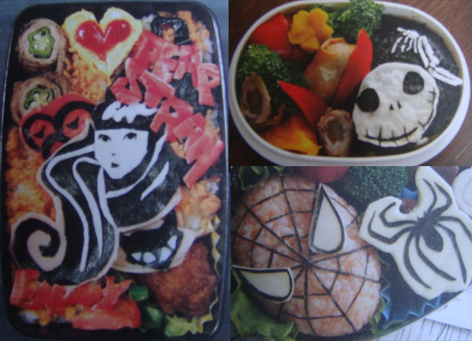 Gothic lolita Japanese children's lunches or bento boxes. Food decorated like cute cartoons and animals.