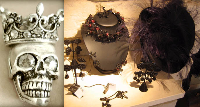 Gavilane shop: Gothic jewelry and accessories in Paris. Bijoux, vetements Gothique.