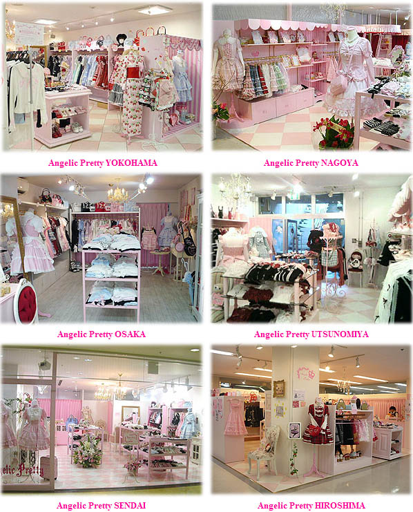 Angelic Pretty store in Japan. Sweet Lolita pink dresses, bonnets, lace blouses.