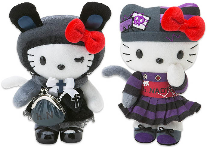 Hello Kitty h.NAOTO stuffed toy dolls, in Gothic Lolita clothing.