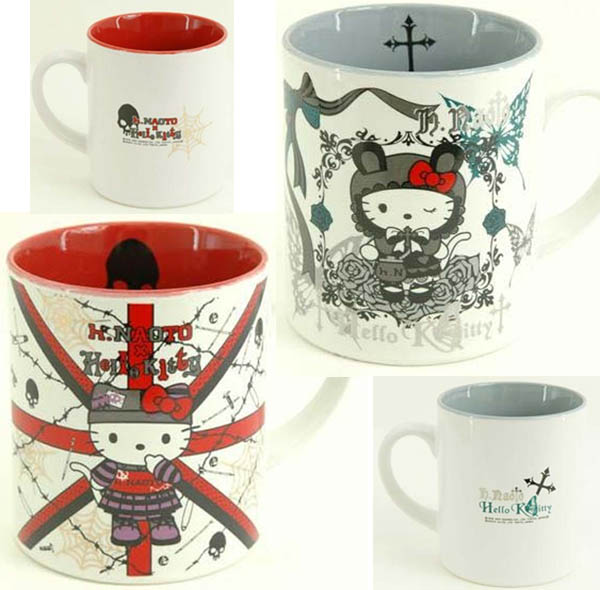 Cute Goth Hello Kitty coffee cups from Tokyo, Japan by h.NAOTO.