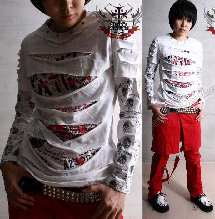 Mar Jour punk skater ripped t shirt from Refuse to be Usual, ebay Gothic Lolita and Visual Kei store.