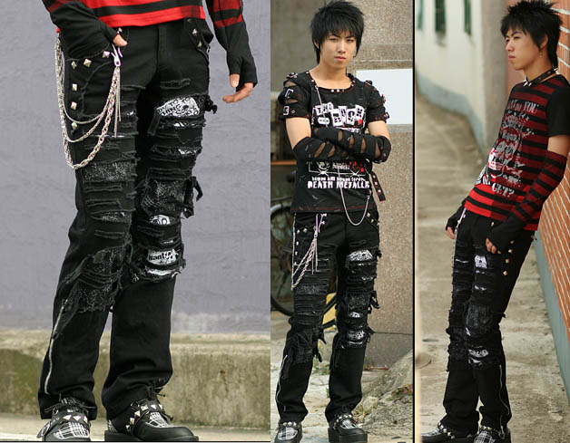 Japanese punk boys in ripped up jeans with silver chains, stylish armbands.