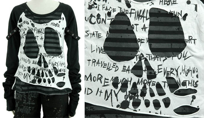 h.NAOTO skeleton face cutsew Goth and Visual Kei shirt. MisShapes fashion, NYC club clothing.