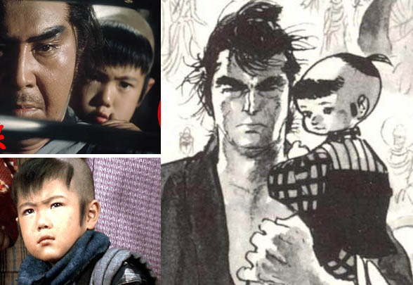 Daigoro from Lone Wolf and Cub manga and movie, son of samurai Ogami Itto. Japanese boy cartoon.