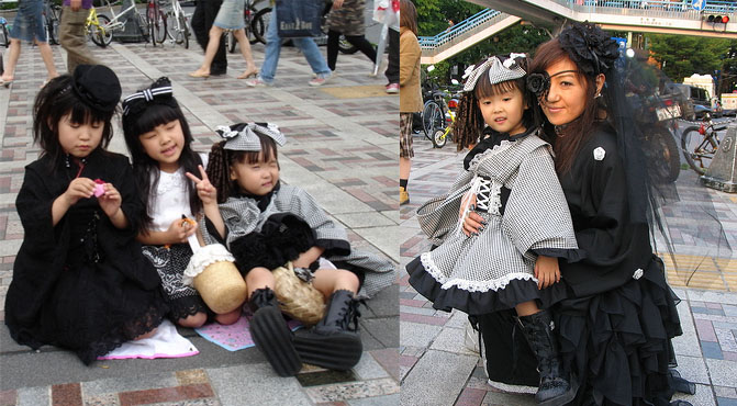 Gothic Lolita little girls with big hair bows and corset dresses on Harajuku Bridge, Tokyo.