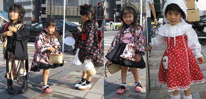 Cute cosplay gothic and classical lolita kids in Tokyo. Wa Lolita dress.