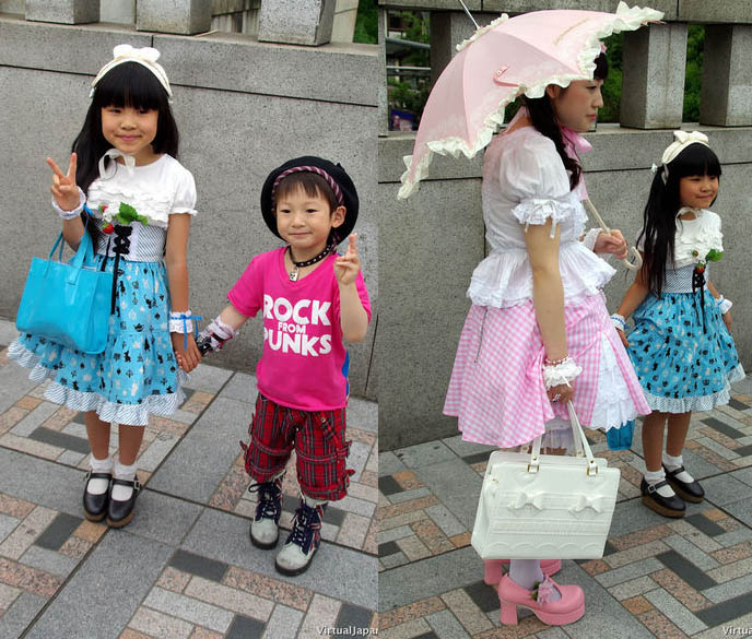 Punk rock little boy and girl. Fruits fashion in Japan, crazy streetwear Harajuku.