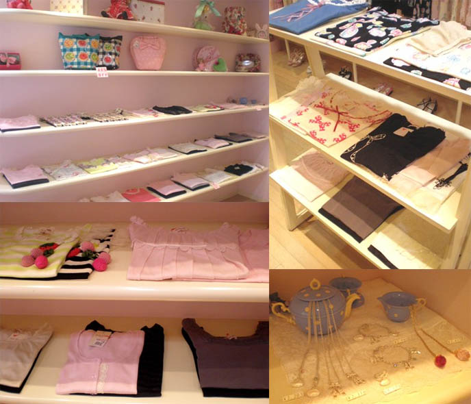 Shelves of folded pink tshirts and cute blouses in Sweet Lolita Japanese store, Emily Temple Cute.