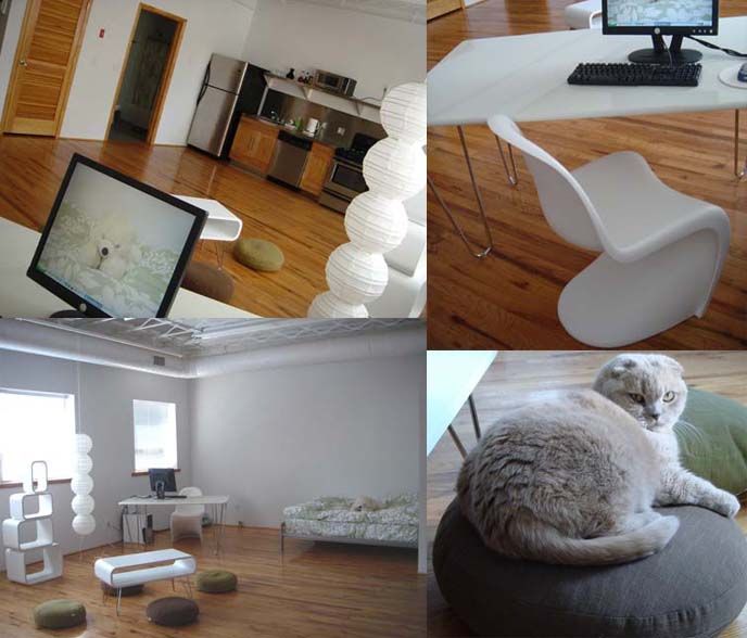 Zen Minimalist Loft, interior design high ceilings, meditation cushions, Verner Panton chair.