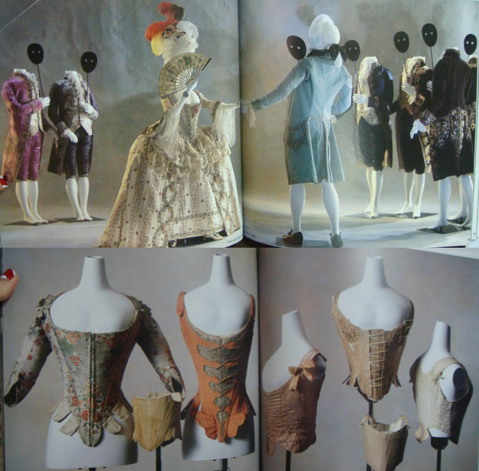 Rococo masks and corsets, 18th century undergarments. Kyoto museum exhibit of French Revolution fashion.