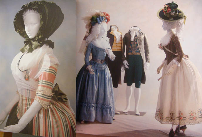 Beautiful Rococo bonnet, ladies in long gowns and petticoats. Marie Antoinette costumes.