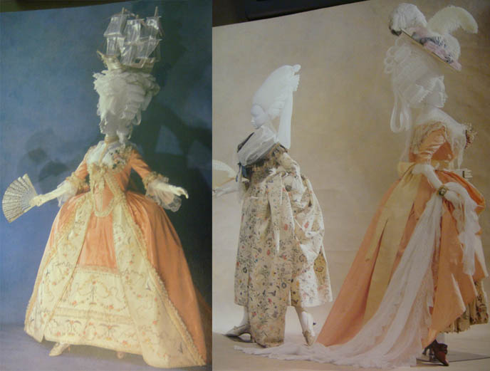 Crazy Rococo hat, sailboat on head, huge powdered wigs and ridiculous gowns. French Revolution court clothing.