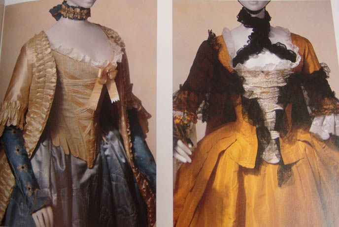 Rococo satin dresses and corsets. Aristocratic court ladies of 18th and 19th century Versailles, France.