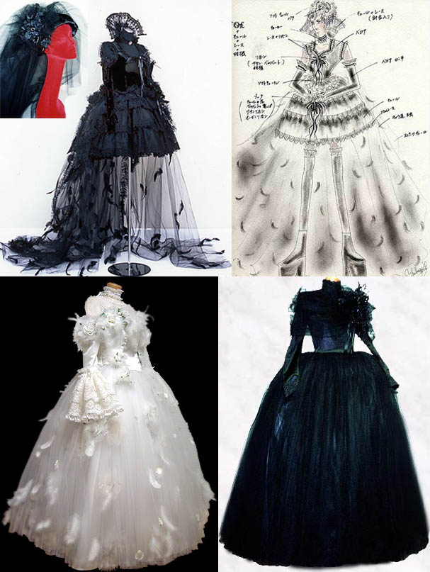 Goth and Gothic Lolita crazy wedding gowns. Long Victorian dresses with feathers, veil, corset and petticoat.