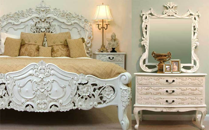 Lovely Newtons Marie Antoinette Furniture, Rococo Mirrors And Bed Frames. Antique  Carved Headboards.