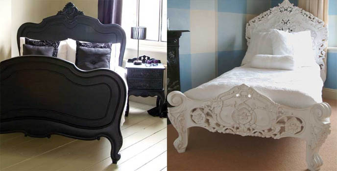 White carved bed and headboard  French elegant Victorian Rococo furniture   Black Goth carvings. MODERN MARIE ANTOINETTE FURNITURE  NEWTONS FRENCH ROCOCO ROYAL