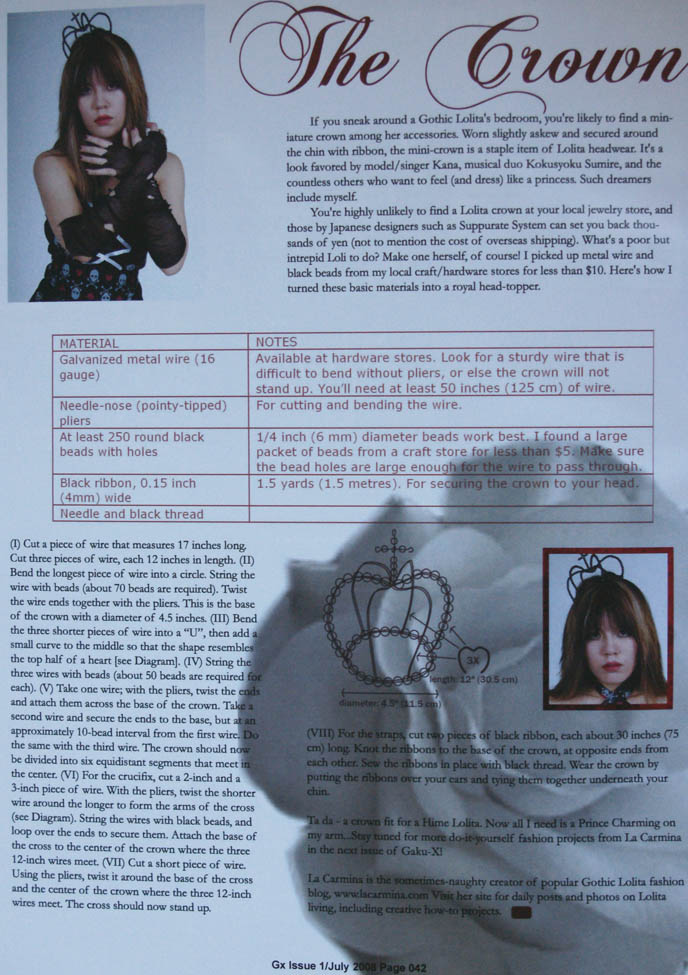 Gothic Lolita crown, Goth hair accessories how-to project. Japanese magazine jewelry diagram by La Carmina.