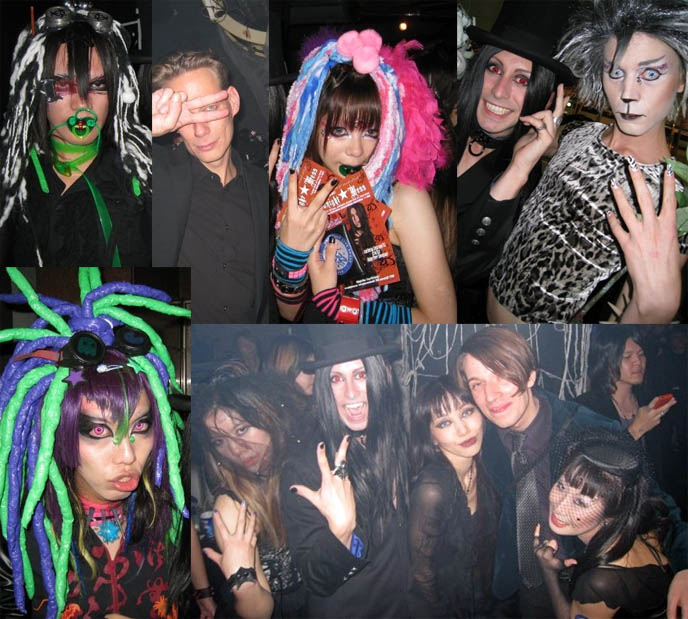 Covenant concert in Tokyo, Japan. Gothika and 4dmode1 Goth band members at Tokyo Midnight Mess, Gothic nightclub event. DJ Sisen of Tokyo Decadance.