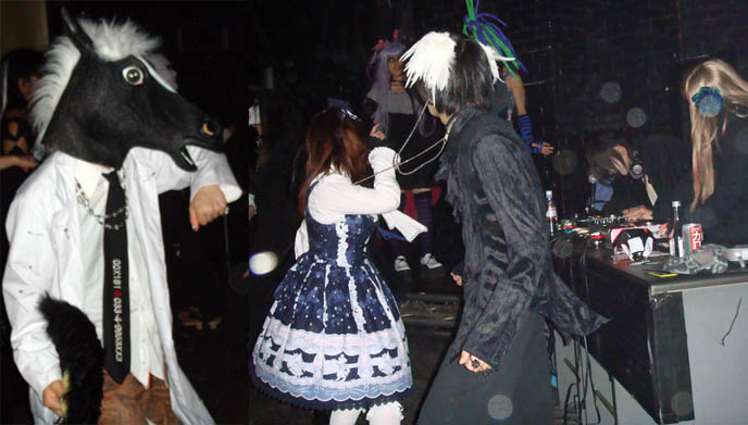 Dancing Gothic Lolita girl in Tokyo at Gothic Bar Heaven, Goth club nights in Japan. Horse head mask, scary.