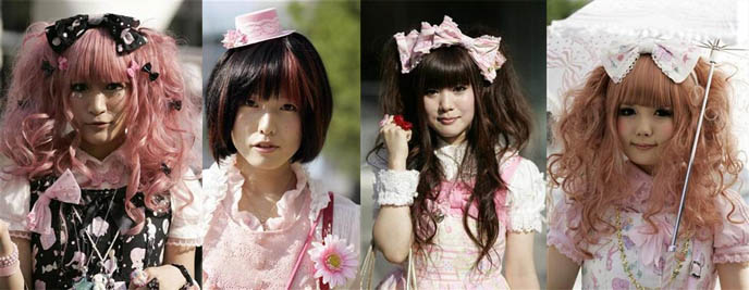 Portraits of Gothic and Sweet Lolitas at fashion event in Tokyo, Japan. Japanese women dressed in Lolita fashion walk in front of the venue of the 0101 Marui Shinjuku Individual Fashion Expo IV, a gothic, Lolita and punk fashion event, in Tokyo September 23, 2008.
