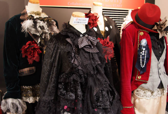 Dolly, Visual Kei Japanese rock band, stage outfits. Gothic Lolita male kodona dandy or Victorian aristocrat costumes, fashion. Marui Young Shinjuku 0101 department store.