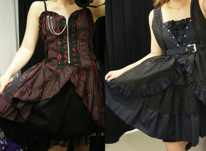 h.NAOTO dresses, red and blue Goth dresses with skulls, silver chain. Punk alternative emo clothing, Gothic Lolita fashion.
