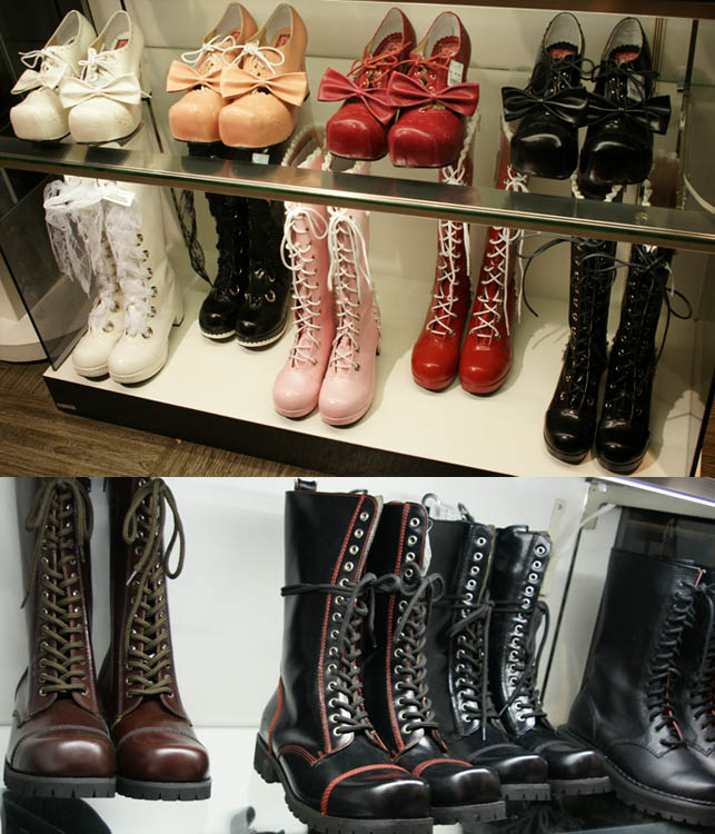 Goth rock boots, gothic and sweet lolita cute boots and shoes. Lace up alternative shoes, footwear from Japan, military punk style leather.