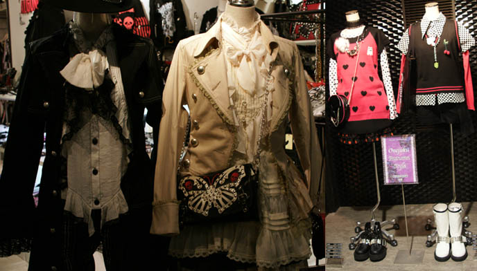 Tokyo shopping for Gothic Lolita clothing. Algonquins punk jackets, butterfly and heart rock emo purses. 80s style pink and black outfits in department store.
