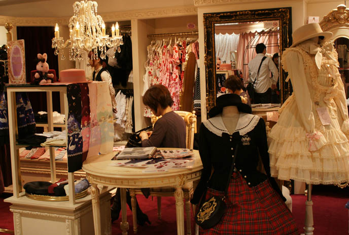 Sweet Lolita shopping guide, where to buy Gothic Lolita womens designer clothing in Tokyo Japan. Marui one department store in Shinjuku, trendy ladies fashion, cute Japanese girls.