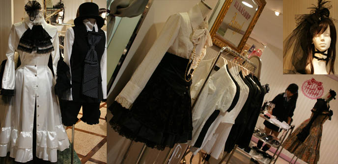 Kera Shop Angel clothing, sweet lolita shopping in Tokyo, Japan. Victorian mourning funeral hats, giant jabots and long white Goth coat at Maruione department store.