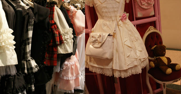 Sweet Lolita ruffled dresses, sleeves on long Victorian blouses. Shopping at Marui Young Shinjuku 0101 department store.