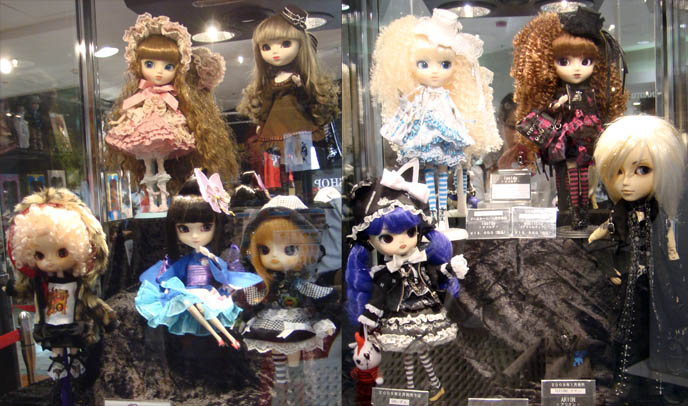 Rare and limited edition Gothic Lolita Pullip dolls. h.NAOTO Hangry and Angry plush toys, casual lolita rock outfits. Marui store display.
