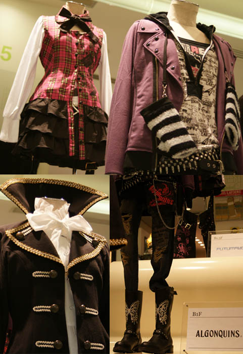 Algonquins Japanese punk goth lolita designer, at Laforet shopping center in Tokyo Japan. Visual kei stage stage outfit worn by Kamijo.