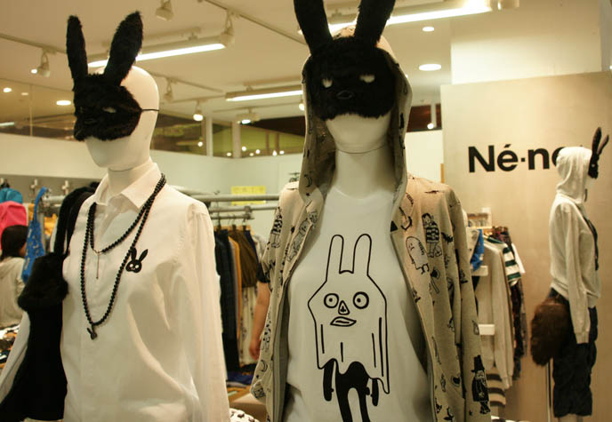 Ne-net bunny ears and cat purses, new young wild Tokyo fashion designer. Shopping and ladies womenswear clothing at Laforet department store in Harajuku with Avril Lavigne special collaboration.