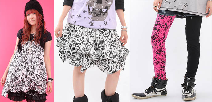 Monster Party print from Asian fashion label Banana Fish. cute electro leggings, different print on legs. Designer cool weird leggings and tights from Japan.