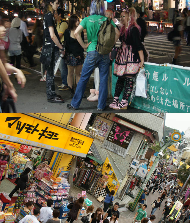 Takeshita Doori, busy shopping street with dollar stores and Gothic Lolita shops. Harajuku girls, crazy fashion outside subway station in Tokyo Japan.