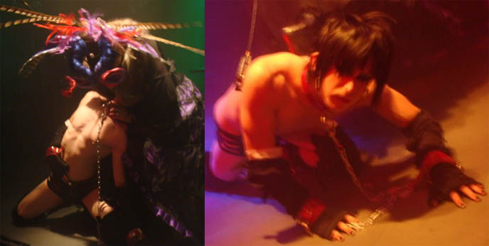 Fetish S&M exhibition performance at Japan club night, Tokyo Dark Castle. Selia and goth boy in collar, dragged by chain.