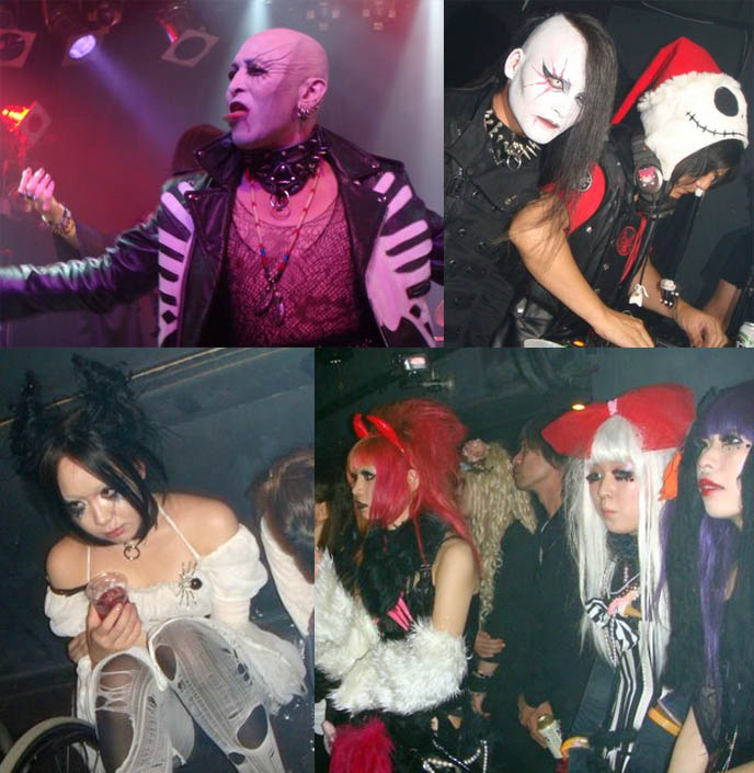 DJ Takuya Angel and Chihiro spinning occult Japanese EBM Industral and Electro music at Tokyo Dark Castle. Goth nightlife fashion, clubbers in wild cyber rave Halloween costumes.