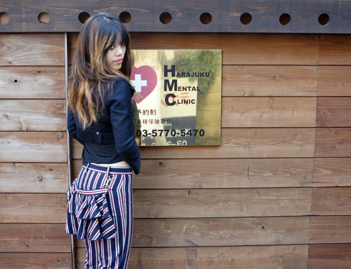 Alice and the Pirates striped sailor pants and military jacket from Baby the Stars Shine Bright. Harajuku mental clinic sign, Japanese fashion model.