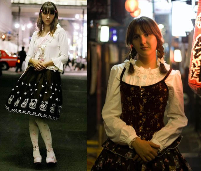 French Gothic and Sweet Lolita girls, Rococo Marie Antoinette Versailles fashion. Models in streets of Tokyo, Japan, neon lights of storefront windows.