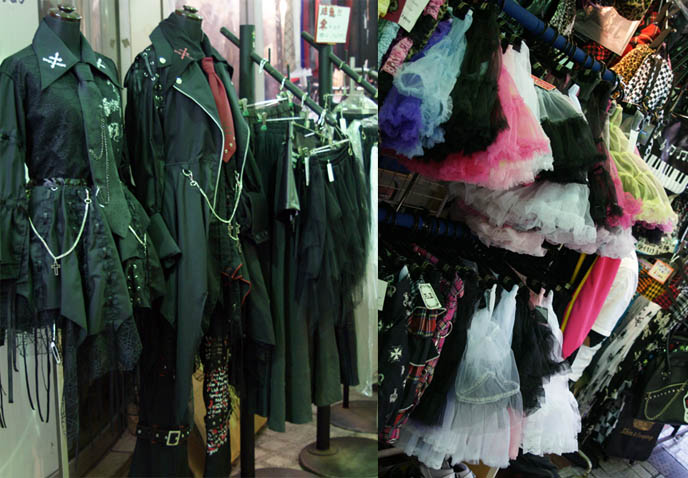 Colorful tutus, spooky Gothic aristocrat clothing for men and women. Harajuku punk rock, Goth, emo and lolita stores. Bargain cheap alternative fashion and shopping in Tokyo, Japan.