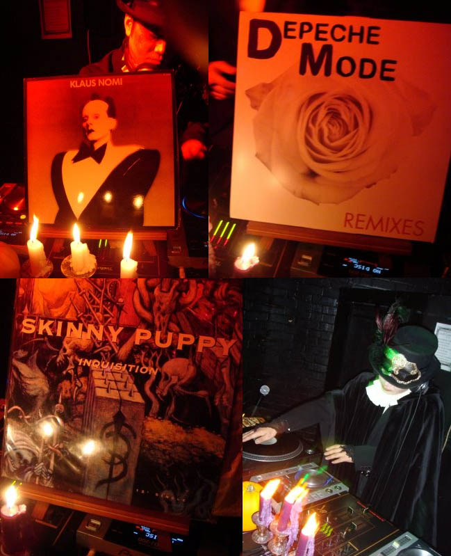Goth DH EZ Go music soundtrack, Klaus Nomi vinyl, Depeche Mode album cover, Skinny Puppy album. Songs played at Japanese Club Cemetery, Goth nightclub Halloween party or event at Club Hoop, Shinjuku, Tokyo.