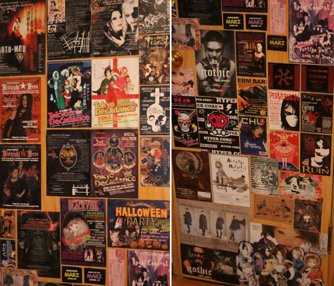 gothic lolita bedroom, goth home decor. Tokyo Decadance posters, Dark Castle flyers, Japanese and American Goth club nights. Nightlife events, EBM bar, fetish and bondage nights.