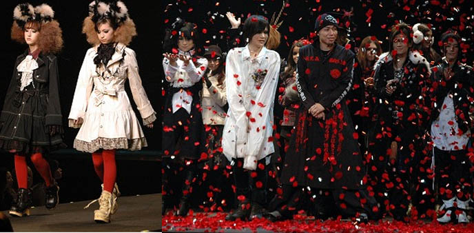 Maruione.jp Tokyo department store brand presentation. Plastic Tree performance, models bowing, red petals fall from sky.